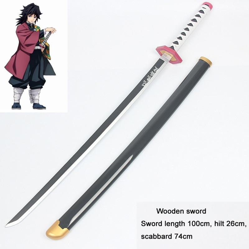 2020 Tomioka Giyuu Cosplay Sword Demon Slayer Kimetsu No Yaiba Wooden Weapons Replica Prop Halloween Christmas Fancy Party Props