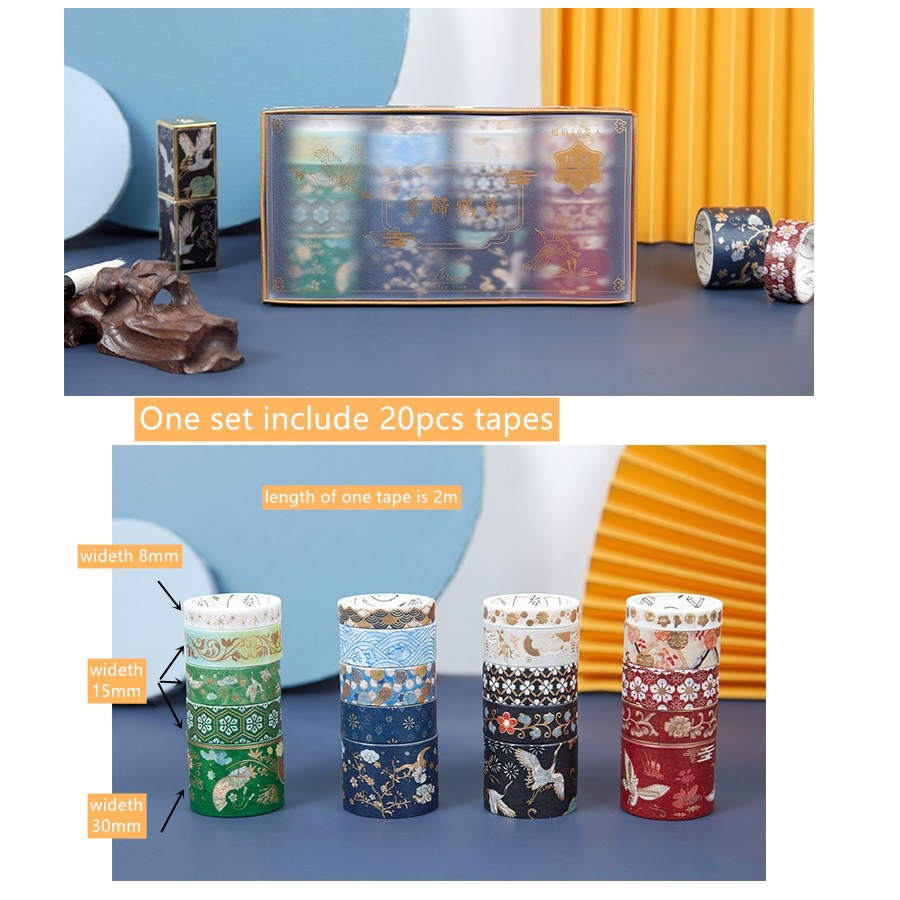 20pcs Vintage Gold Color Paper Washi Tape Set Luxury Palace Spring Flower Star Adhesive Decoration Masking Tapes Sticker A6157 2
