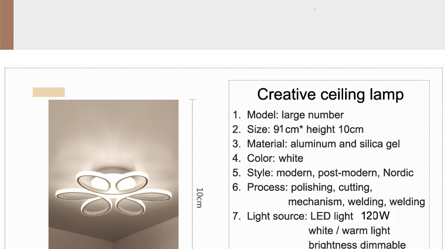 Hf8b54b00b2ed4d5193b731bf5bc5b423V Living room ceiling lamp led dimmable for bedroom aluminum body indoor lighting fixture plafonnier led lights dining room