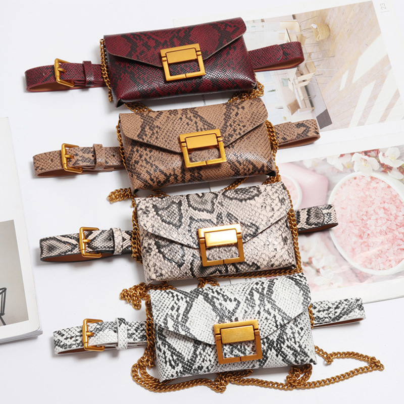 Fanny Pack For Women Fashion Mini Ladies Belt Bag Snake Skin Waist Bag Pu Leather Shoulder Bag Waist Bag Fanny Pack Cute