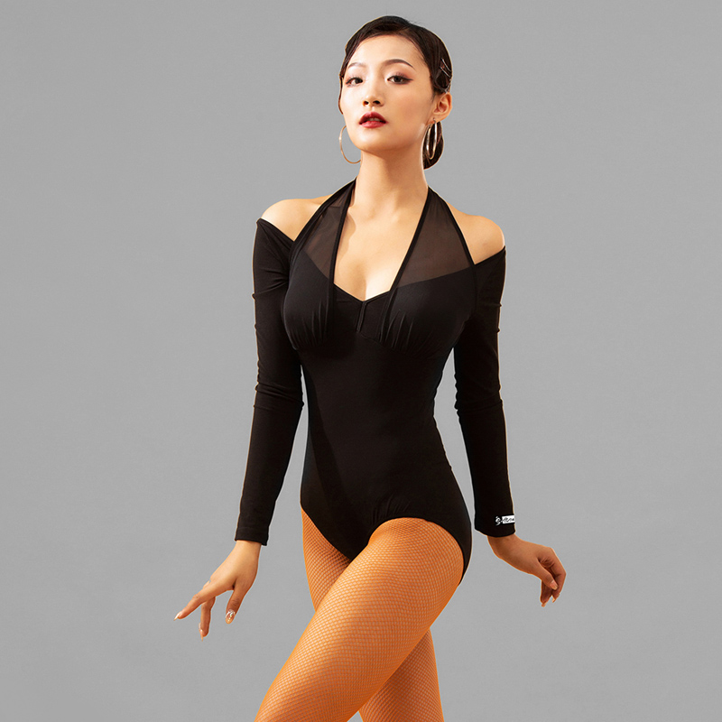 Women Latin Dance Tops Sexy Long Sleeve Bodysuit Adult Female One-piece Cha Cha Rumba Samba Tango Latin Dance Costumes DQS3705