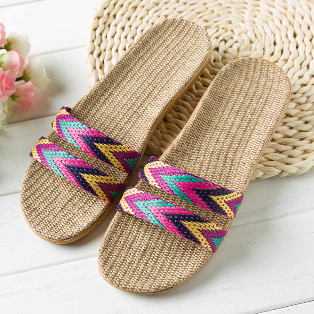 Kadın düz terlik çift kayış Bohemia örgü terlik keten keten Flip flop plaj ayakkabısı sandalet rahat kadın kaymaz Flats E3