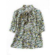 Silk Blouse 2020 Summer Women's New 14m/m Double Crepe Silk Shirt Fashion Floral Stand Collar Bow Half Sleeves Tops Female S-XL