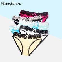 Moonflme 5 pcs/lot Hot Sale 2019 Women Cotton Sexy Lace Briefs Underwear 89069