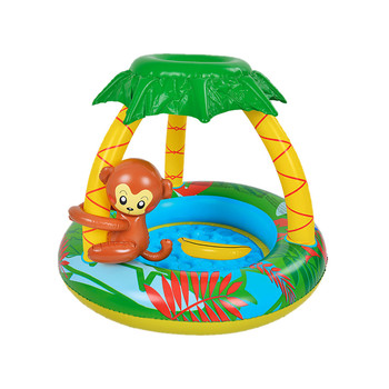 Inflatable Kids Swimming Pools for Gardens Monkey Shade Baby Paddling Pool dark pools