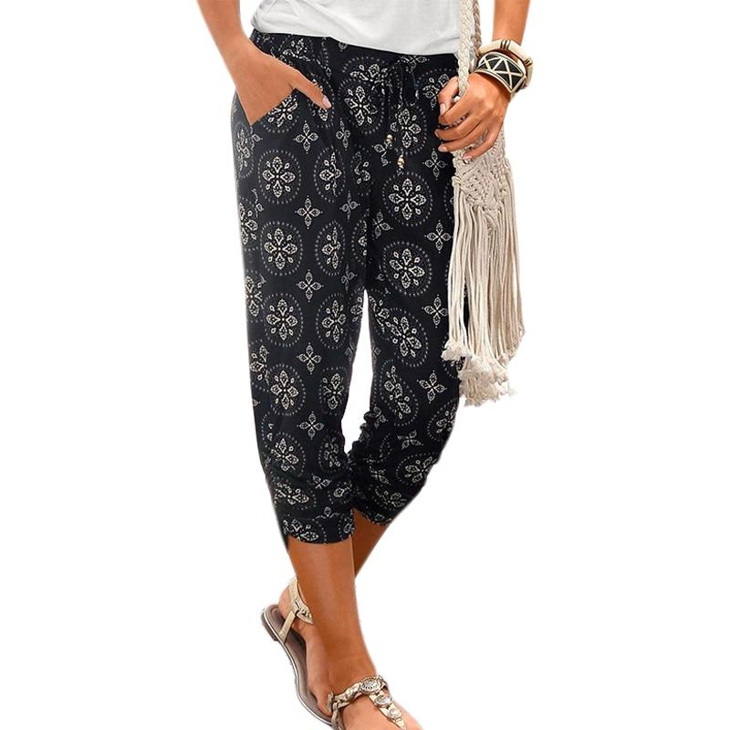 VICABO Printed Womens Pants Calf-Length Capris Elastic High Waist Casual Beachwear Trousers Pockets Ladies Harem Pants