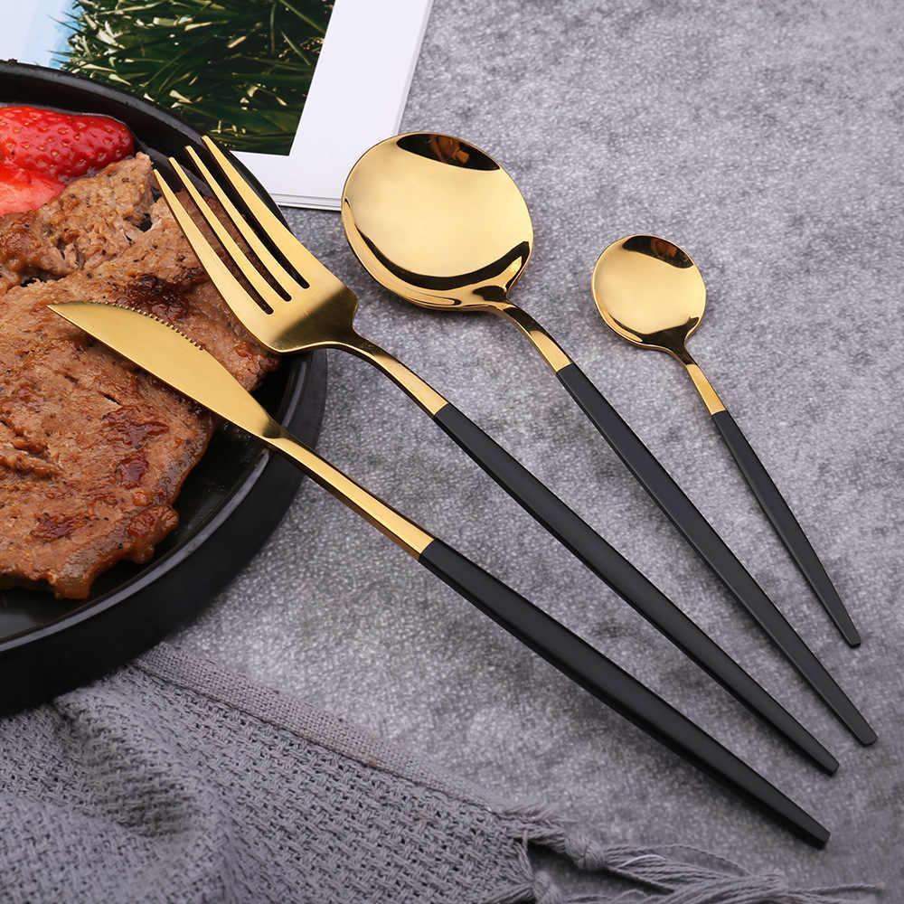 16 Cái Ăn Tối Set Đồ Ăn Dao Kéo Bộ Đồ Ăn Vàng Đồ Dùng Inox Dao Muỗng Nĩa Bếp Nhiều Màu Sắc Bạc Đảng