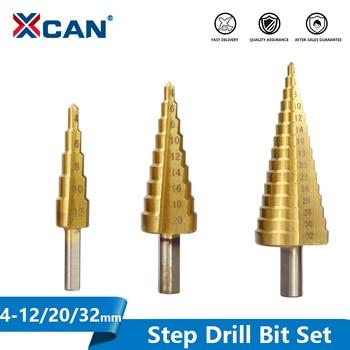 цена на XCAN Step Drill Bit 3pcs 4-12/20/32mm HSS Steel Pagoda Shape Core Drill Bit Step Cone Drill