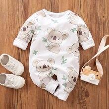 Macacão infantil de 100% algodão, roupinha de verão recém-nascido, macacão koala com estampa de cóala, roupas para crianças