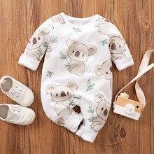 Newborn 100% Cotton Romper Infant Toddler Cute Koala printing Summer Long Sleeve Kids Jumpsuit Ropa