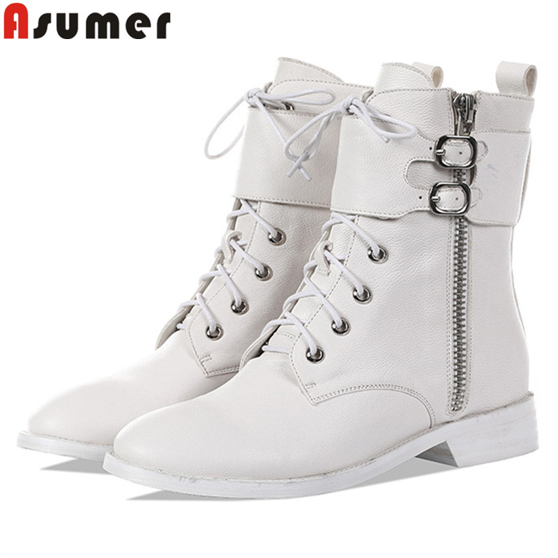 ASUMER Boots Women Genuine-Leather Low-Heels Motorcycles Casual Ladies New Zip Ankle