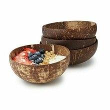 Nuevo creativo de coco Natural tazón de ensalada de frutas fideo arroz tazón de fruta de madera de artesanía-Vintage de decoración de boda