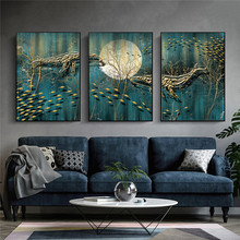3 panels golden fish wall art printed canvas painting scandinavian poster prints nordic home decoration canvas prints no frame prints