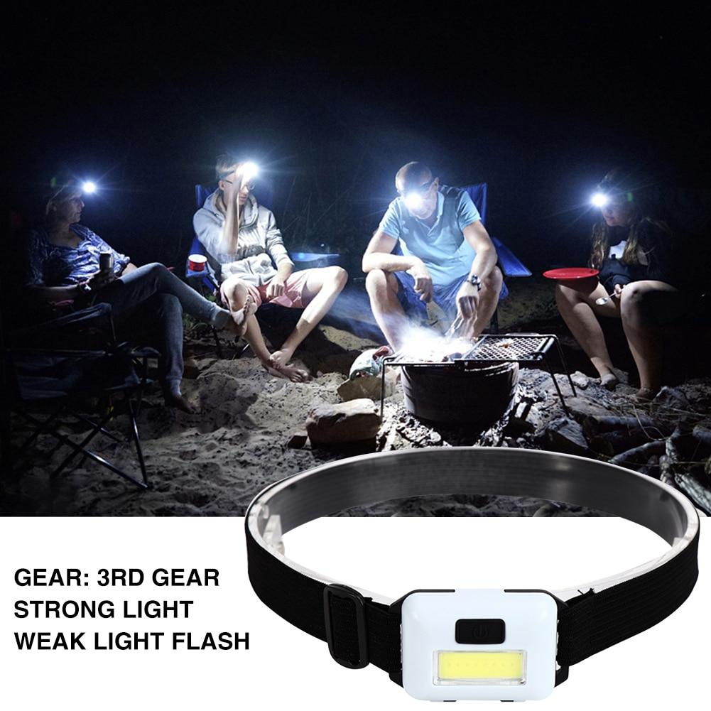 Mini lampe frontale étanche COB, 3 Modes d'éclairage, idéal pour le Camping, la pêche, la nuit