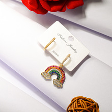 Rainbow Asymmetric Stud Earrings Titanium Copper plated 18K Gold Zircon Earrings Gold Color Fashion Trendy Women Jewelry Gift недорого