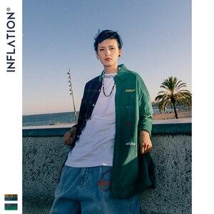 Image 2 - INFLATION BRAND Oversize Plaid Shirt Men 2019 FW Streetwear Patchwork Embroidery Men Shirt Hip Hop Cotton Mens Shirt Tops 92102W