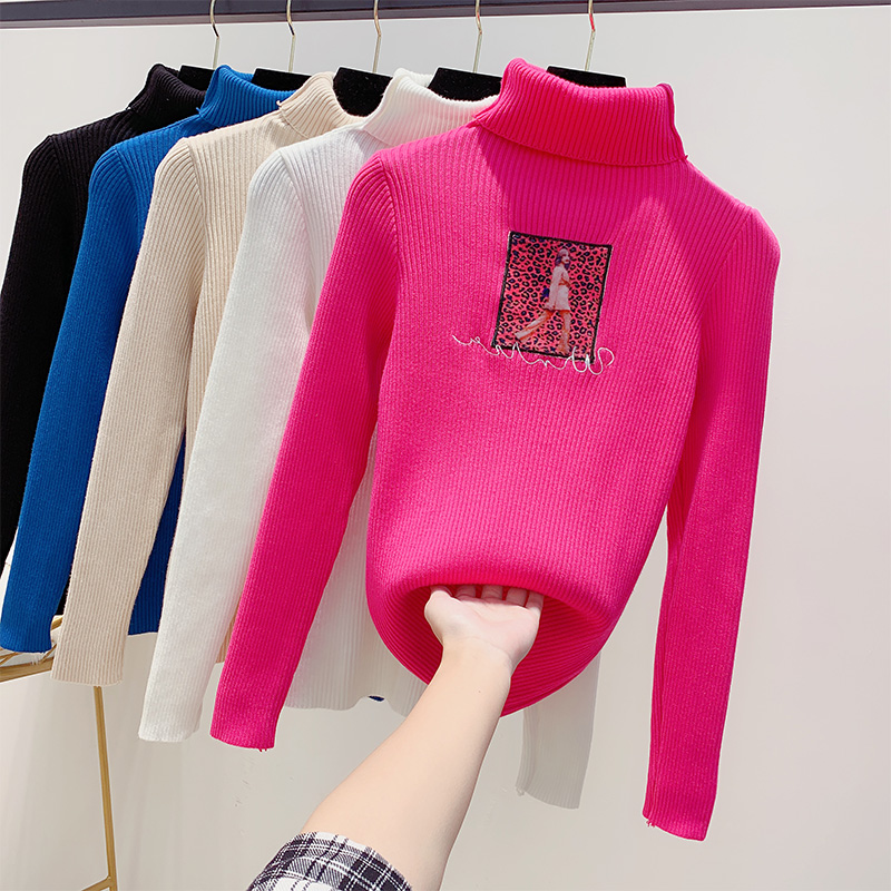New Women's Sweater Autumn Winter High-collar Sweaters Show Thin Leisure Printed Sweater Jersey Mujer Undercoat Pullover