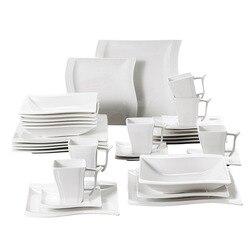 Белый фарфоровый столовый сервиз из серии MALACASA, 30 шт., с 6 чашками, блюдцами, десертный суповой набор обеденных тарелок для 6 человек