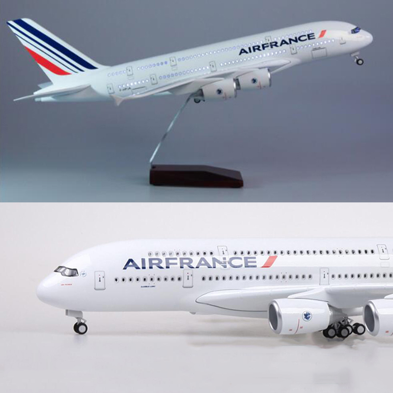 1:160 Scale 50.5CM Airplane <font><b>Airbus</b></font> 380 <font><b>A380</b></font> France Airline <font><b>Model</b></font> W Light and Wheel Diecast Resin Plane F Collection shows image