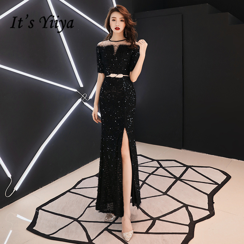It's YiiYa Evening Dresses Boat Neck Sexy Split Sequined Wedding Formal Dress Little Tassel Zipper Mermaid Long Party Gowns E342