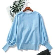 Женский зимний Трикотажный свитер с рукавами фонариками