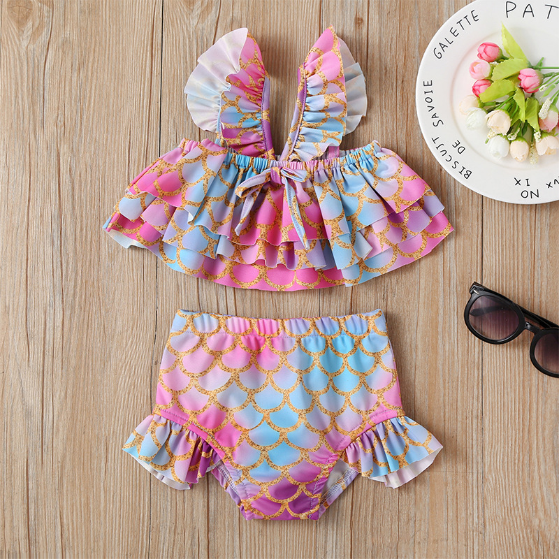 Summer Girls' Swimwear Set Printed Fashion Seaside Beach Bathing Suit 2 Pieces Water Athletic Clothing Hot Selling