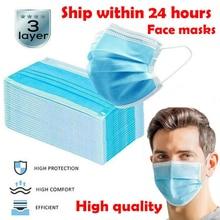 100Pcs Disposable Face Mask 3 Layer Nonwove Filter Disposable mouth mask filter Earloop Breathable Melt blown masks