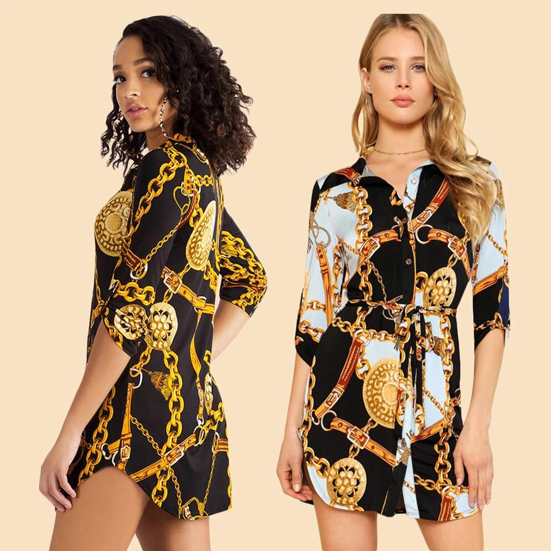Womens Chain Print Top Black