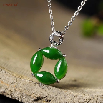 CYNSFJA Real Certified Natural Hetian Jade Jasper 925 Sterling Silver Fine Jewelry Amulets Lucky Green Jade Pendants Best GIfts