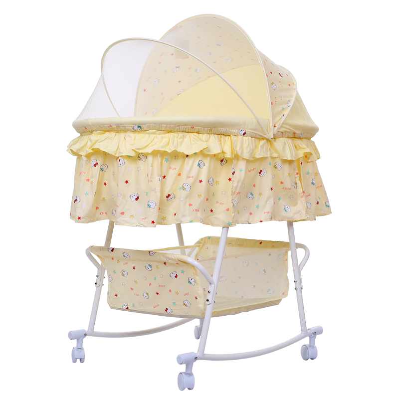 Infant Baby Rocking Cradle Bed With Mosquito Net, Available Swing Crib Infant Baby Rocking Bed With Wheels
