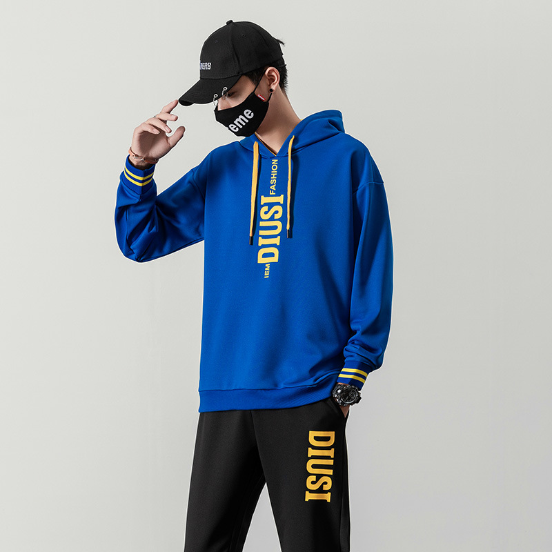 Men Autumn Clothing New Style Hoodie Suit Fashion And Personality Trend Casual Sports Hooded Pullover Loose-Fit Two-Piece Set Me