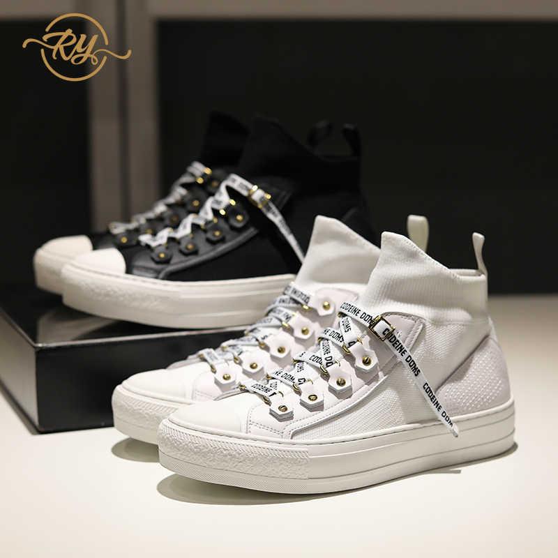 RY-RELAA delle donne scarpe da ginnastica 2018 scarpe di moda di lusso delle donne designer ins stile Del Cuoio Genuino di autunno scarpe da donna scarpe da ginnastica bianche