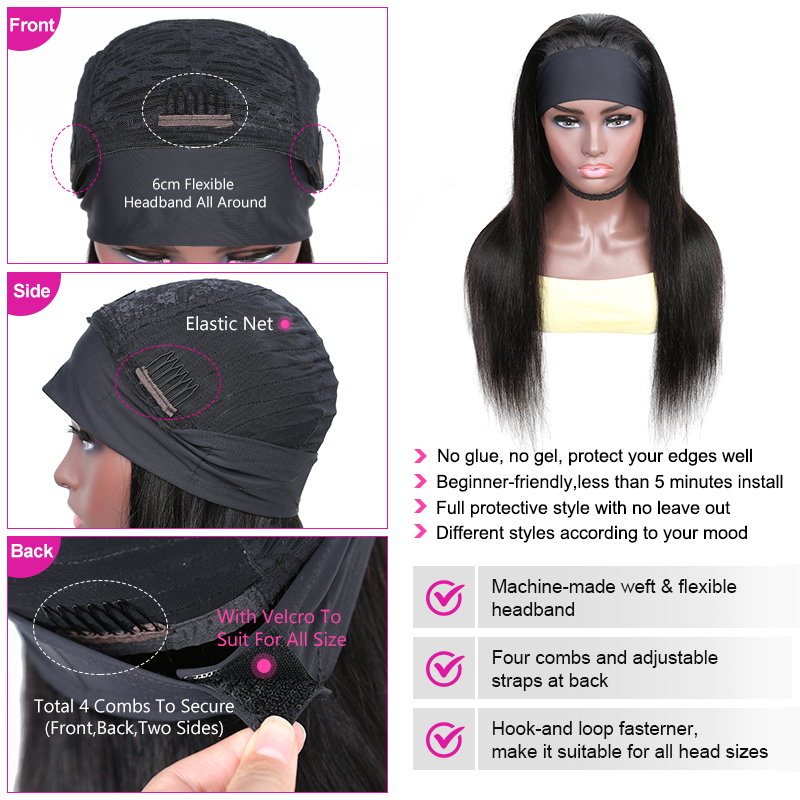 YYong Straight Short Headband Wigs 100%  Wigs With Scarf, 8-24inch Glueless Full Machine Net Head Band  Wig 4