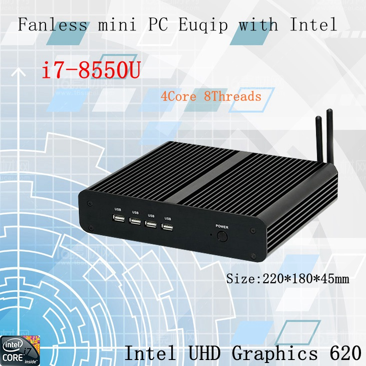 Newest Kaby Lake R 8Gen Fanless mini pc i7 8550u 8565U Intel UHD620 win10 Quad Core 8 Threads DDR4 2400 NUC Freeshipping pc-in Mini PC from Computer & Office