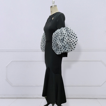 Black Maxi Party Dress Long Puff Sleeves Polka Dot Hollow Out Sexy Event Occasion Women Elegant Celebrate Evening Night Robes 6