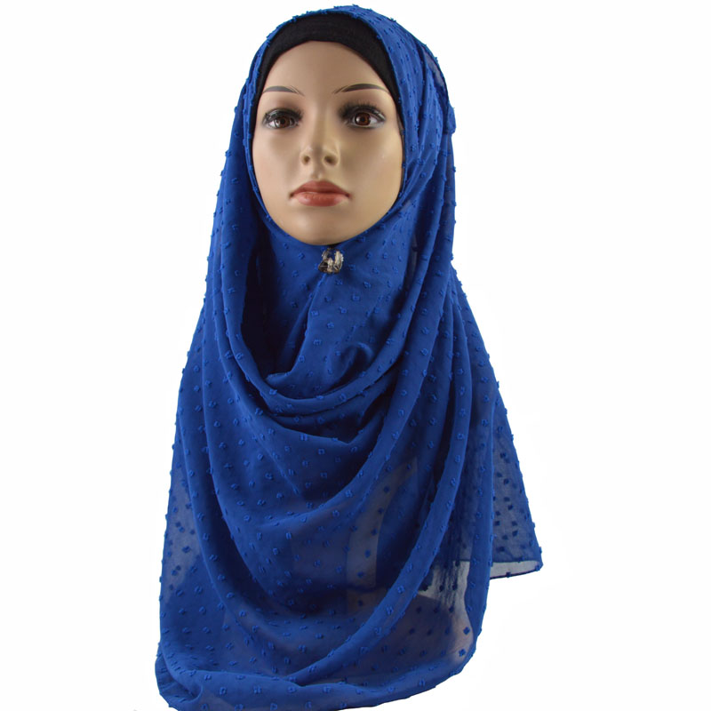 Image 4 - New Arrival Plain Pom Chiffon Hijab Scarf Muslim Shawl Solid Color Headband Wrap Turban Shawls Scarves 10PCS/Lot-in Women's Scarves from Apparel Accessories