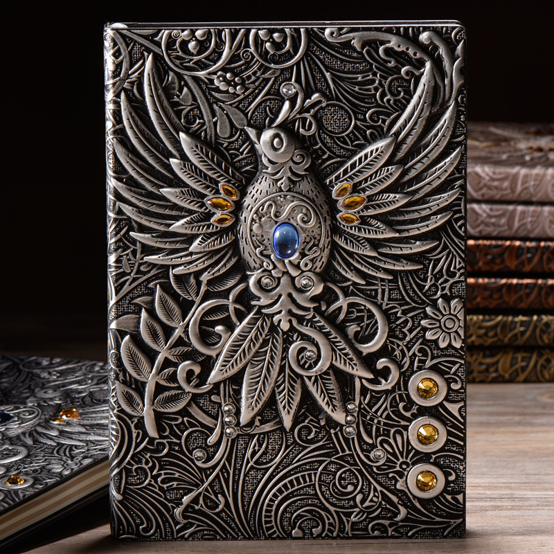 100 Sheets Classic Cartoon European Embossed Retro Phoenix Notebook Creative Upscale Business Office Gift Notepad