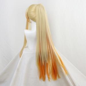 Image 4 - DIOCOS Anime Demon Slayer Kimetsu Geen Yaiba Agatsuma Zenitsu Cosplay Pruiken Mannen Vrouwen 90cm Lange Hittebestendige Haar