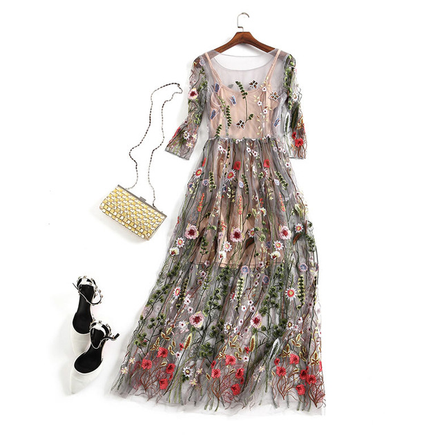 Embroidery Party Dresses Runway Floral Bohemian Flower Embroidered 2 Pieces Vintage Boho Mesh Dresses For Women Vestido 6