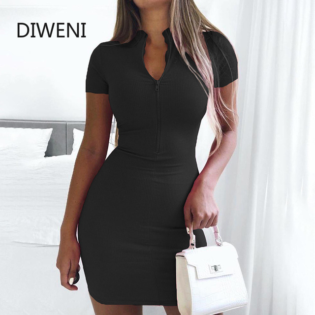 HOT simple bodycon dresses for woman 2020 summer solid zipper mini dress mujer street casual Ribbed elastic package hip dress