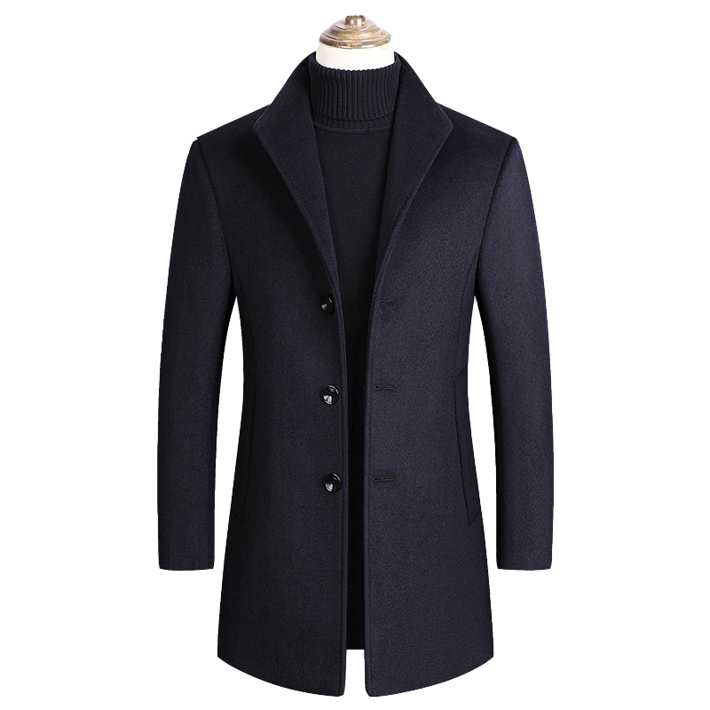 2020 Men Wool Blends Coats Autumn Winter New Solid Color High Quality Men Wool Luxurious Coats plus size 3XL ropa шерсть пальто