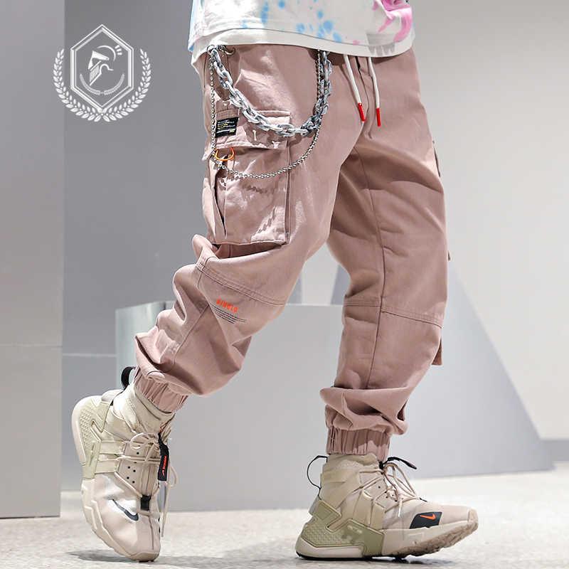Homem solto safari estilo carga calças moda harem jogger calças tornozelo-comprimento hip hop calças