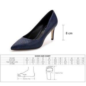 Image 5 - נשים נעלי עקבים גבוהים עור שמלת משאבות נעלי גבירותיי הבוהן מחודדת אלגנטי עבודה כחול משאבות עור אמיתי נעלי נשים Fletiter