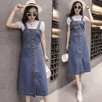 2019 Summer Woman Plus Size Denim Dress Korean Style Sleeveless Spaghetti Strap Single breasted Button Slim Fit Jeans Sundress