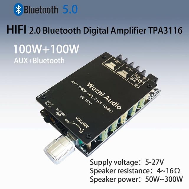 ZK 1002 HIFI 100WX2 TPA3116 Bluetooth 5.0 amplificateur numérique haute puissance carte stéréo amplificateur Home cinéma