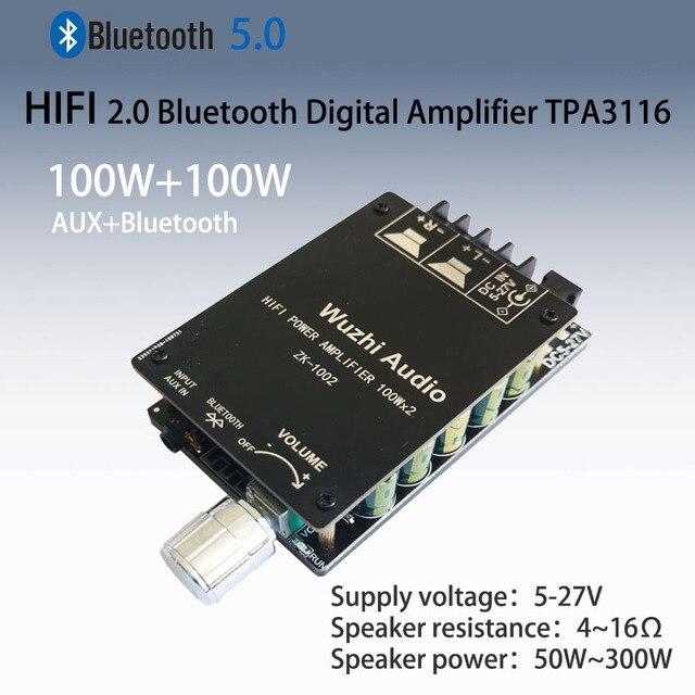 ZK 1002 HIFI 100WX2 TPA3116 Bluetooth 5.0 yüksek güç dijital amplifikatör Stereo kurulu AMP Amplificador ev sineması