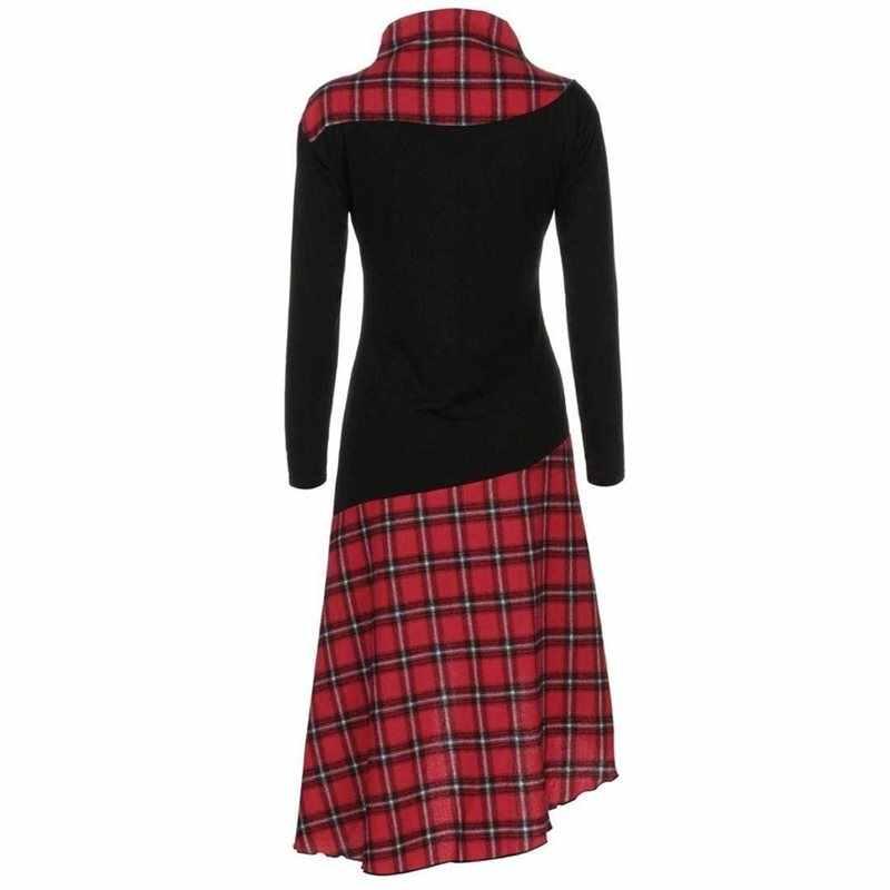 Rosetic женское клетчатое платье с длинным рукавом, винтажные платья, женское ретро лоскутное платье, тонкое женское платье