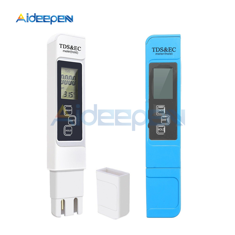 TDS EC Meter Temperature Tester Pen Conductivity Water Quality Thermometer 3 in1 Measurement Tool TDS&EC Tester 0-9990ppm