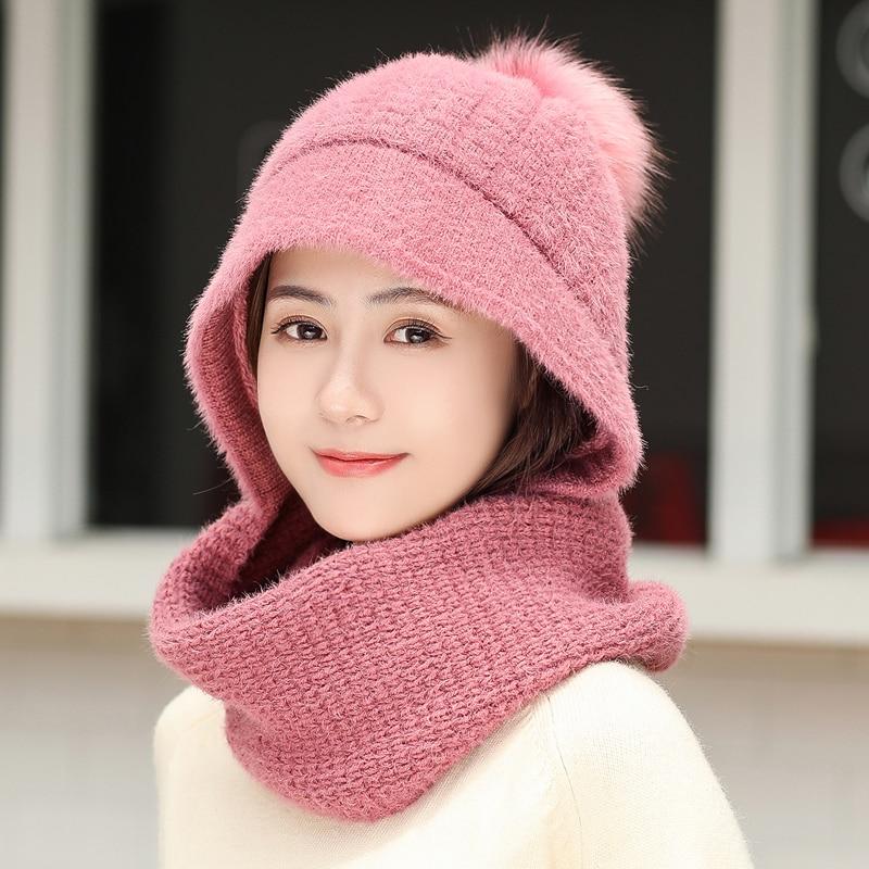 Image 3 - luxury Neck warm knitted winter hat for women girl Rabbit hair beanies Skullies velvet hat mask Bonnet Femme Balaclava scarf hat-in Women's Skullies & Beanies from Apparel Accessories