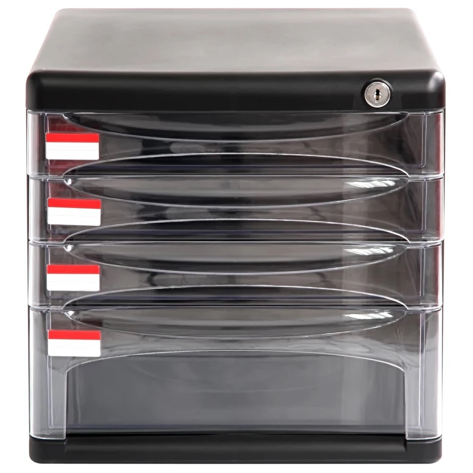 Deli File Cabinet 9794 Desktop Information Organizing Storage Cabinets Plastic Drawers Office Use 4-Layer Lock